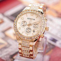 59cac8776bd Barato 2016 Moda Feminina Relógio de Luxo de Genebra de Cristal de Aço  Inoxidável Banda Quartzo