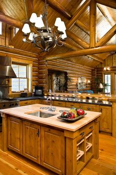 0661-Charming Log Features. Rocky Mountain Log Home Kitchen