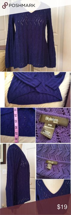 Cobalt Blue Hi-Low Hemmed Knit Sweater Excellent Condition Style & Co Sweaters V-Necks