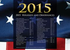 Patriotic Tidings - Holiday Greeting Cards- Show your patriotic spirit year round with this flag themed calendar card for 2015. A list of 2015 Holidays and Observances is featured at the top. The Office Gal