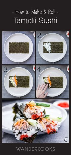 How To Roll Temaki Sushi (Easy Hand-Rolled Sushi) Recipe - A simple 5-step way to easily roll your sushi, so it's ready to eat in seconds!   wandercooks.com