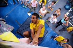 Bouldering at a Touchstone Competition at Diablo Rock Gym in Concord, Ca.