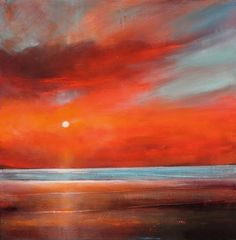 June 11 Red Vibrant Colorful Sunrise Sunset Painting, painting by artist Toni Grote
