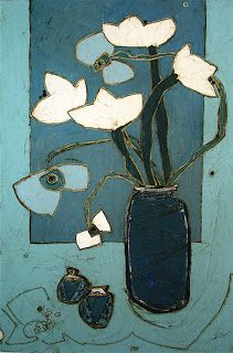 Blue Still Life with Five Flowers, Karen Tusinski, oil on canvas, 24 x 36