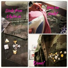 Armyjacket and studs -we absolutely love the combination! DIY with studs from LilyJoe.se.