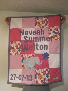 Personalised patchwork baby quilt with an added elephant