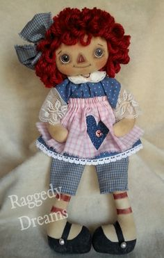 Handmade Primitive Raggedy Ann Annie Doll Yellow Mustard Homespun Calico & Lace Trim Dress #20 by RaggedyDreamsToo on Etsy