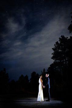 Jesse & Kenny's Wedding - Portrait under the stars - Chief Hosa Lodge, Golden, Colorado - Morgan Petroski Photography - Albuquerque Photographer