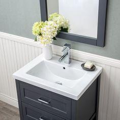 Home Elements D-Series Ceramic 30 x Grey 2 Soft Close Drawer Drop-In Sink Vanity 24 Inch Vanity, 24 Inch Bathroom Vanity, Wood Bathroom, Vanity Set, Antique White Cabinets, Ceramic Undermount Sink, Plumbing Installation, Rack Design, Bathroom Essentials