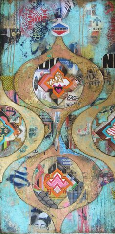 """Disturb The Universe"" by Jill Ricci || Mixed Media on Canvas || 48x24"" || Gallery Orange - New Orleans, LA"