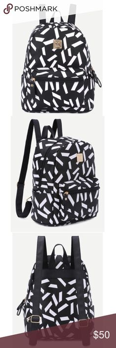 Black print front zip pocket backpack! NEW! Material: PU length: 23cm // width: 14cm // height: 30cm Bags Backpacks