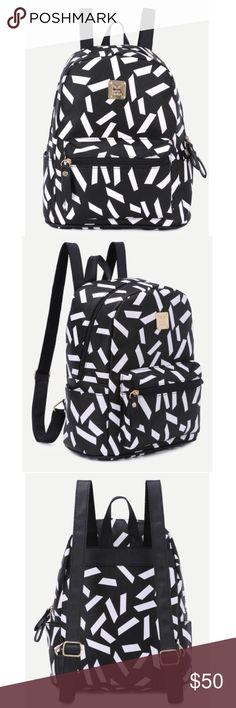 Black print front zip pocket backpack! NEW! Material: PU length: 23cm // width: 14cm // height: 30cm Bags Backpacks