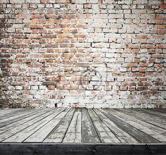 """Papier peint """"brique, mur, parquet - ancienne chambre avec mur de brique."""" ✓ Un large choix de matériaux ✓ Impression écologique 100% ✓ Regardez des opinions de nos clients !"""