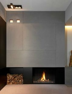 A modern architecture gas fireplace. Fireplace Tv Wall, Small Fireplace, Concrete Fireplace, Living Room With Fireplace, Fireplace Design, Fireplace Surrounds, Modern Interior, Interior Architecture, Interior Design