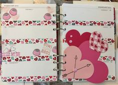 February A5 planner spread for Valentine's Day using Stupid Cupid Fun Stampers Journey stamp set and Heart dies.