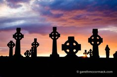 Celtic crosses at sunset, County Sligo, Ireland.