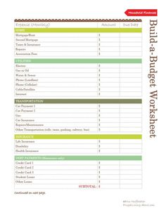 Free Household Notebook. Includes 36 Printables: Budget Worksheet