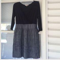 Black And Gray V-Neck Dress