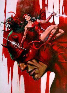 "redskullspage: ""Daredevil vs Elektra by Lucio Parrillo "" Daredevil Matt Murdock, Daredevil Elektra, Comic Art Fans, Comic Books Art, Marvel Avengers Comics, Marvel Heroes, The Devil Inside, Elektra Natchios, Marvel Couples"