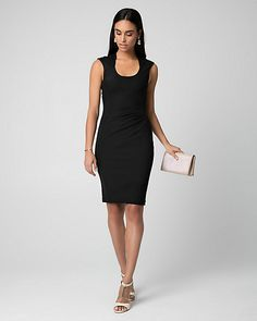 Crêpe-Like Knit Scoop Neck Pleated Dress - Effortless and chic, a crêpe-like knit shapes a body-hugging dress finished with flattering side pleats.
