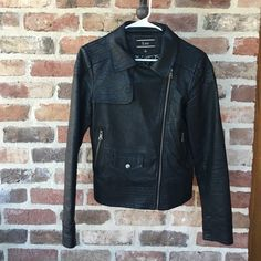 Black Faux Leather Jacket Perfect condition. Black leather (NOT REAL LEATHER). Jackets & Coats