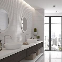 Eye catching and stylish, these white gloss, ripple effect tiles look great when teamed with the plain Bristol tile, for a blank canvas, which is anything but boring. With a slight silver shimmer they will add elegance to bathroom and kitchen walls. Bathroom Tile Designs, Bathroom Wall, Tile Warehouse, Tiles Uk, White Wall Tiles, Bathroom Styling, Beautiful Wall, Beautiful Bathrooms, Kitchen Walls