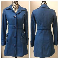 Cute blue Anthro coat Cute blue button front, wool blend coat. Fully lined, no flaws. Tulle by Anthropologie. Anthropologie Jackets & Coats