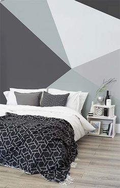 Ready to bring some Scandi cool into your home? This geometric wallpaper design encompasses sleek lines with a bold palette of greys. Bringing together sophistication and simplicity. It's the perfect choice for monochrome bedrooms and living room spaces. Monochrome Bedroom, Monochrome Color, Bedroom Paint Colors, Wall Colors, Trendy Bedroom, Awesome Bedrooms, Dream Rooms, New Room, Bedroom Decor