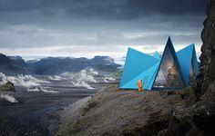 Entlang isländischer Wanderpfade könnten solche BSP-Schutzhütten aufgestellt werden – die Architekten rechnen mit zwei bis drei Tagen Montagezeit. © Utopia