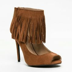 "*JUST IN!* Brown Fringe faux suede heels Brown Fringe faux suede heels.  Brand new in box.  Size: 7 Heel height: 4.25"" Shoes Heels"