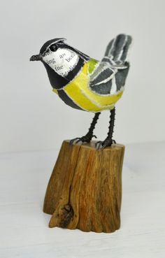 Great Tit paper sculpture  www.suzannebreakwell.com