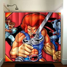 The Thundercats are a group of anthropomorphic felines who fight with The Mutants in the fictional Third Earth world. Recently they have had books published under Wildstorm. Fabric Shower Curtains, Bathroom Shower Curtains, Retro Cartoons, Thundercats, Pin Up Girls, Artwork Prints, Vines, Retro Vintage, Comics
