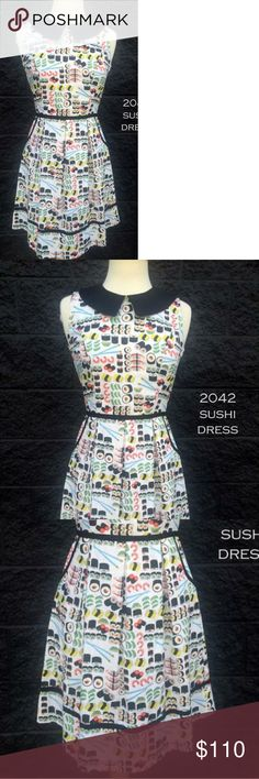 Retrolicious sushi dress New without tags, didn't come with tags  Peter pan collar Zipper back  Stretchy area on back waistband Modcloth Dresses