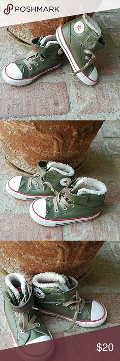 Army Green kids Converse Hightops These high tops are toooo cute Army green with velcro and laces in near new condition . Converse Shoes Sneakers