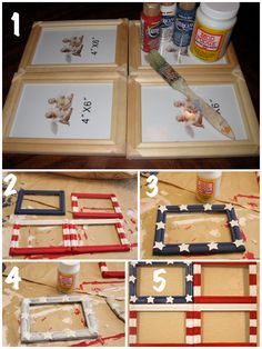 Create a fun summer photo collage with this DIY Flag Photo Frame. This simple craft project can be put together in an afternoon with items already in your home. Americana Crafts, Patriotic Crafts, July Crafts, Summer Crafts, Holiday Crafts, Crafts For Kids, Fourth Of July Decor, 4th Of July Decorations, 4th Of July Party