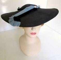 4c926f0a5b7 Vintage Wide Brim Cartwheel Hat Avant Garde by nanascottagehouse Cartwheel