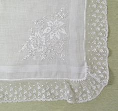 Vintage embroidered and lace-trimmed hanky, white linen with Madeira embroidery and shadow work, wedding hanky