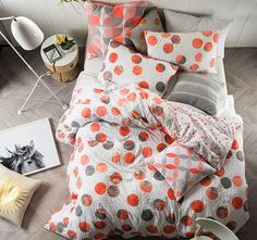 Create a cool ambiance to your bedroom with Linen House Tika Coral Quilt Cover Set. Featuring large polka dots in grey and red tones. This is a fun and modern design for the creative at heart. Restoration Hardware Bedding, Best Duvet Covers, Cushions For Sale, Black Bed Linen, Retro Summer, Kids Blankets, Buy Bed, Home Decor Online, Quilt Cover Sets