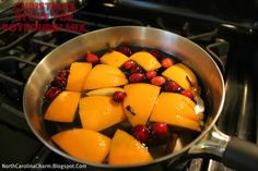 Christmas in a Pot! Just simmer a quartered orange, cranberries, cloves, cinnamon, nutmeg, or any other sweet spices to make your home smell like Christmas! This stove top potpourri mix will last about two weeks.
