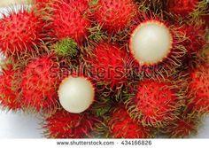 Rambutans , Rambutans fruit with leaf on white background. - stock photo