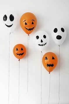 kreative bastelideen für halloween party luftballons mit gesichtern