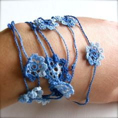 Delicate Flower Necklace - Blue/White £25.00