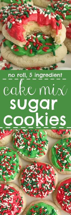 Cake mix sugar cookies are a quick & sweet treat for Christmas! Only 5 ingredients, no rolling, no chilling time and you've got super soft cookies that kids will love to frost and put sprinkles Köstliche Desserts, Delicious Desserts, Dessert Recipes, Plated Desserts, Rolled Sugar Cookies, Holiday Cookies, Christmas Cookies Simple, Noel Christmas, Christmas Desserts