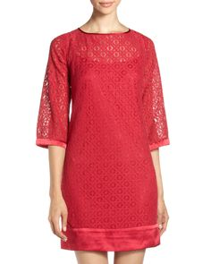 Cute red lace shift dress