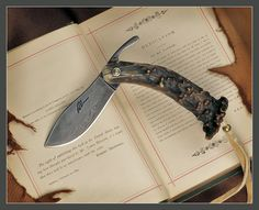 'Nessmuk' style friction folder knife by Rik Palm - Damascus edge and Crown Stag antler handle