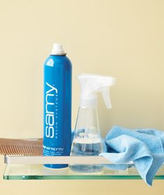 Lift off hair-spray residue from bathroom walls. Spray a mixture of one part rubbing alcohol, two parts water, and a dash of dishwashing liquid onto vinyl wallpaper or semigloss (not flat) paint. Wipe clean.