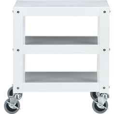 go-cart white rolling table. $99. Also in moss green. Could use as nightstand, or as end table in living room, or maybe as media table?