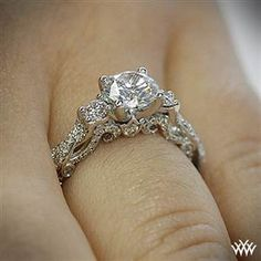 This 3 Stone Engagement Ring is from the Verragio Insignia Collection. It features (F/G VS) round brilliant cut diamond melee to enhance a round diamond center of your choice. The width tapers (Top Round Engagement Rings) Ring Set, Ring Verlobung, Wedding Engagement, Wedding Bands, Wedding Ring, Dream Wedding, Solitaire Engagement, Wedding Shoes, Perfect Wedding