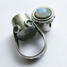 Poison Ring - Rainbow Moonstone Ring - Metalsmithed Artisan Jewelry Secret Compartment Size 6  Treasure Box Ring SS Ring. $292.00, via Etsy.