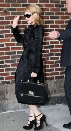"""""""Madonna carries a black crochet Miss Sicily bag for her appearance on the David Letterman show"""""""